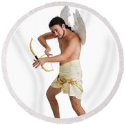 Cupid The God Of Desire Round Beach Towel