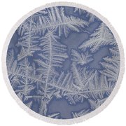 Frost On A Window Round Beach Towel