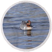 Green Wing Teal Round Beach Towel