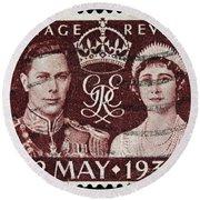 old British postage stamp Round Beach Towel