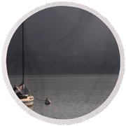 Sailing Boat Round Beach Towel