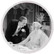 Silent Film Still: Wedding Round Beach Towel