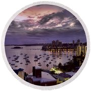 7th Floor View Macleay Street Potts Point Sydney Early Morning Round Beach Towel