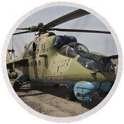 An Mi-35 Attack Helicopter At Kunduz Round Beach Towel