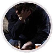 Depression And Addiction Round Beach Towel