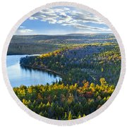 Fall Forest And Lake Round Beach Towel by Elena Elisseeva