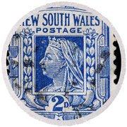 old Australian postage stamp Round Beach Towel
