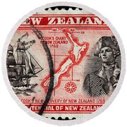 old New Zealand postage stamp Round Beach Towel
