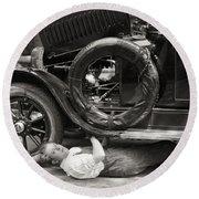 Silent Film: Automobiles Round Beach Towel