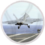 An Fa-18e Super Hornet Launches Round Beach Towel