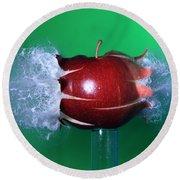 Bullet Hitting An Apple Round Beach Towel