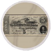 Confederate Banknote Round Beach Towel