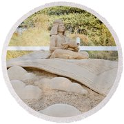 Fairytale Sand Sculpture  Round Beach Towel