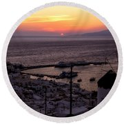 Mykonos Round Beach Towel