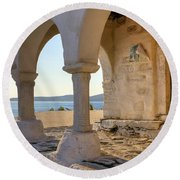 Paros - Cyclades - Greece Round Beach Towel