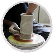 Pottery Wheel, Sequence Round Beach Towel