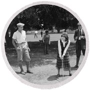 Silent Film Still: Golf Round Beach Towel
