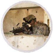 U.s. Army Ranger In Afghanistan Combat Round Beach Towel