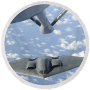 A B-2 Spirit Approaches The Refueling Round Beach Towel by Stocktrek Images