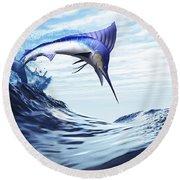 A Beautiful Blue Marlin Bursts Round Beach Towel