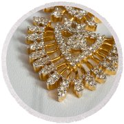 A Beautiful Gold And Diamond Pendant On A White Background Round Beach Towel