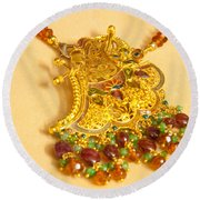 A Beautiful Intricately Carved Gold Pendant Hanging From A Semi-precious Stone Chain Round Beach Towel