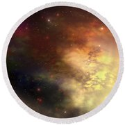 A Beautiful Nebula Out In The Cosmos Round Beach Towel