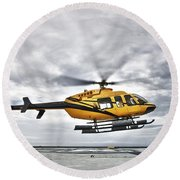A Bell 407 Utility Helicopter Prepares Round Beach Towel