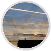 A Bird Outlined Against The Setting Sky At Dover Castle Round Beach Towel