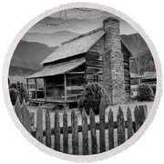 A Black And White Photograph Of An Appalachian Mountain Cabin Round Beach Towel