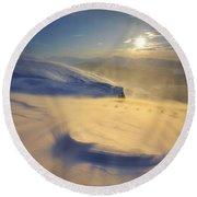 A Blizzard On Toviktinden Mountain Round Beach Towel