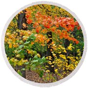 A Blustery Autumn Day Round Beach Towel