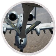 A Boom Operator Refuels An A-10 Round Beach Towel by Stocktrek Images