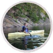 A Boy Kayaking Round Beach Towel