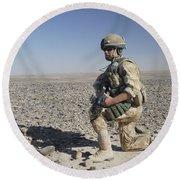 A British Army Soldier On A Foot Patrol Round Beach Towel