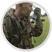 A British Army Soldier Radios Round Beach Towel by Andrew Chittock