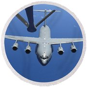A C-17 Globemaster IIi Approaches Round Beach Towel by Stocktrek Images