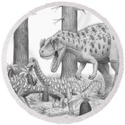 A Ceratosaurus Chasing Young Round Beach Towel