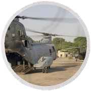 A Ch-46 Sea Knight And Mi-8 Helicopter Round Beach Towel