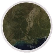 A Cloud-free View Of The Southern Round Beach Towel by Stocktrek Images