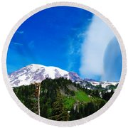 A Cloud Near Mt Rainer  Round Beach Towel