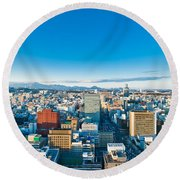 A Cold Sunny Day In Sendai Japan Round Beach Towel