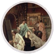 A Collector Of Pictures At The Time Of Augustus Round Beach Towel by Sir Lawrence Alma-Tadema