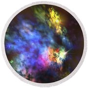 A Colorful Nebula In The Universe Round Beach Towel