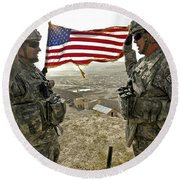 A Commander Re-enlists Master Sergeant Round Beach Towel