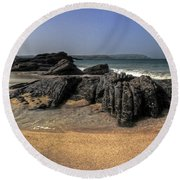 A Cornish Beach  Round Beach Towel