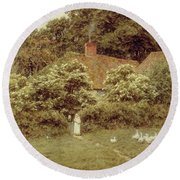 A Cottage At Farringford Isle Of Wight Round Beach Towel