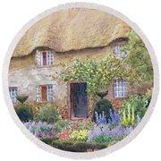 A Cottage Garden In Full Bloom Round Beach Towel