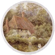 A Cottage Near Haslemere Round Beach Towel
