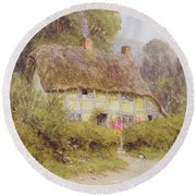 A Country Cottage Round Beach Towel by Helen Allingham